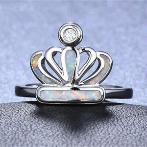 Silver Crown Imitation Opal Ring Size 7